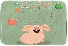 Happy Smile Pig Luftballon Fußmatte, rutschfest,