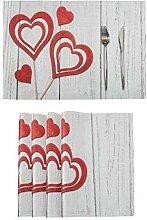 Happy Valentine's Day Tischsets Set von 4