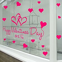 Happy Valentinstag Wand & Fenster Aufkleber Shop Fenster Display Love Decor Aufkleber Shop NEW DIY Wand Fenster Weihnachts Wand Decor Wall Sticker Wall Art Aufkleber Aufkleber Aufkleber Aufkleber Wandbild Décor DIY Deco Abnehmbare Wandaufkleber Colorful Aufkleber, Vinyl, rose, Large
