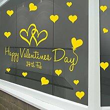 Happy Valentinstag Wand & Fenster Aufkleber Shop Fenster Display Love Decor Aufkleber Shop NEW DIY Wand Fenster Weihnachts Wand Decor Wall Sticker Wall Art Aufkleber Aufkleber Aufkleber Aufkleber Wandbild Décor DIY Deco Abnehmbare Wandaufkleber Colorful Aufkleber, Vinyl, gelb, Large-Reverse-Prin