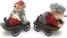 HappyGifts Weihnachtsdeko Figuren - 2 Mäuse auf