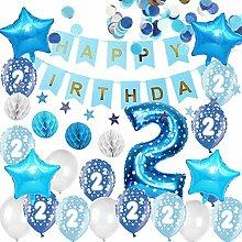 Happyhours 2 Jahre Geburtstagsdeko Jungen Blau