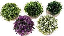 Happyyami 5Pcs Künstliche Topfpflanze Kunststoff