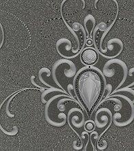 Harald Glööckler Designer Barock Vliestapete 58560 - Ornamente mit Strasssteinen - Grau / Anthrazi