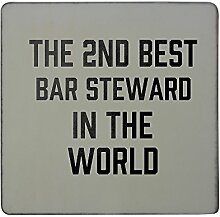 Hardboard square fridge magnet with THE 2ND BEST Bar Steward IN THE WORLD