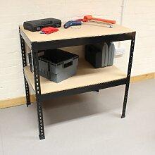 Hardcastle 90cm Stahl-Werkbank mit 2 Regalen - schwarz