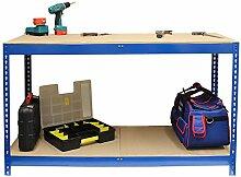 Hardcastle Blaue Stahl-Werkbank mit 2 Ebenen - in der Größe 90cm oder 150cm