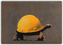 Hardhat Schildkröte Metall Wandschild Kunst,
