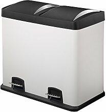 Harima - Mülleimer, 48 Liter, Stahl, groß, weiß, 2-in-1-Abfalltrennung, mit Pedal, Mülltonne für die Küche, Doppelfunktion 2 x 24 Liter, für Recycling.