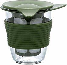 Hario 4977642140752 Teekanne, Glas, olivgrün