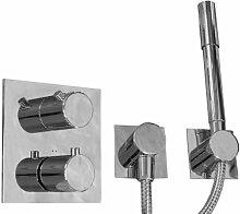 HARK Bad Küche Armatur JADO Geometrie UP Unterputz Thermostat mit Brauseset chrom