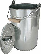 HARK Kohleneimer 14 Liter mit Deckel verzinkt Kohleeimer Kohle Eimer Asche Ascheeimer Kamin Ofen