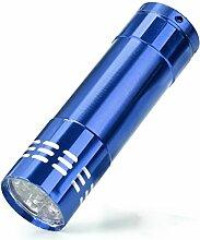 HARRYSTORE Mini 9 LED Aluminium UV Ultra Violett Taschenlampe Blacklight Fackel Licht Lampe (Blau)