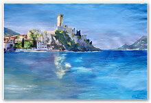 Hartschaum Bilder - Wandbild Bleichner - Malcesine mit der Castello Scaligero
