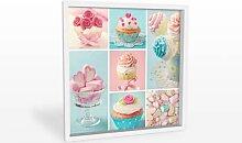Hartschaum Bilder - Wandbild Cupcake-Collage - quadratisch