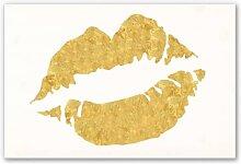 Hartschaum Bilder - Wandbild Gold Lips