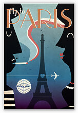 Hartschaum Bilder - Wandbild PAN AM - Fly to Paris