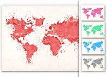 Hartschaum Bilder - Wandbild Weltkarte Aquarell