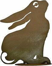 Hase ängstlich auf Platte 35 cm hoch - Osterdekoration für den Garten