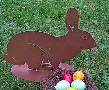 Hase - Gartendeko großer Hase- 40 cm--gute Qualität-aus Metall- Osterhase, für die Osterdekoration in Haus und Garten-,witterungsbeständig +frostsicher