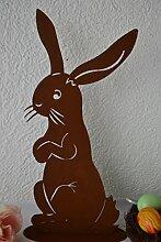 Hase - Gartendeko großer Hase- 42 cm--gute Qualität-aus Metall- Osterhase, für die Osterdekoration in Haus und Garten-,witterungsbeständig +frostsicher