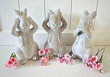 Hase Keramik ca. 20cm Osterhase 3tlg. Satz grau Ostern Osterdeko Skulptur Gartenfigur Shabby