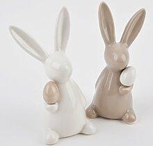 Hase mit Ei 2er Set Deko Figur Porzellan 13x6x6cm weiss Ostern Design