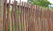 Haselnuss-Zaun als Flechtzaun im Maß 180 x 80 cm ( Breite x Höhe ) als Garten-Zaun - Natur - aus unbehandelten Haselnuss-Ruten