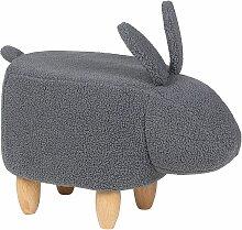 Hasen-Tierhocker Grau Stoff Rustikal Kindermöbel