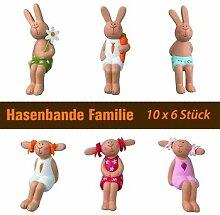 Hasenbande - Mini Kantenhocker - Familie - 10 x 6er-Se