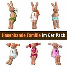 Hasenbande - Mini Kantenhocker - Familie - 6er-Se