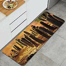 HASENCIV Küchenteppiche Kaktus Sonnenuntergang in