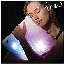 hasëndad LED Glow Pillow Kissen, Polyester, Weiß, 35x 10x 35cm