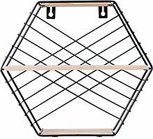 Haunen Hexagon Vintage Wandregal aus Holz und