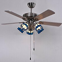 Hauptbeleuchtung Industrial vintage Fan Light Ventilator die Blätter der einfachen stilvolle moderne Massivholz led Leuchter Wohnzimmer Kronleuchter