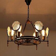 Hauptbeleuchtung Industrieausführung Pendelleuchte Cafe ambiente Dekoration Wohnzimmer Kronleuchter aus Schmiedeeisen antike Lampen runden Glas 650/980* 350/500 mm, 6 Leiter