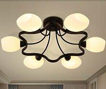 Hauptbeleuchtung Nordic kreative Persönlichkeit stimmungsvolles Wohnzimmer lampe Kronleuchter retro American country Schlafzimmer lampe Zimmer kronleuchter 600/700/800*220 mm, 6 Leiter