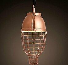 Hauptbeleuchtung Nordic modernen Galvanik Metallgitter Rose Gold einzelne Leiter Pendelleuchte Schlafzimmer Veranda Laterne Kronleuchter 200*390 mm, Warmweiß