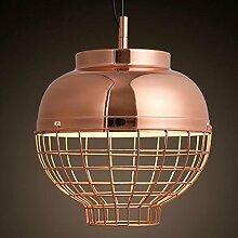 Hauptbeleuchtung Nordic modernen Galvanik Metallgitter Rose Gold einzelne Leiter Pendelleuchte Schlafzimmer Veranda Laterne Kronleuchter 300*300 mm, Weiß