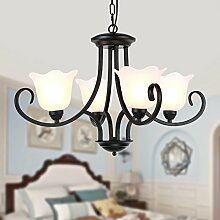Hauptbeleuchtung Vintage Schmiedeeisen American country warmen Wohnzimmer Kronleuchter kreative kontinentales Zimmer Schlafzimmer leuchte Durchmesser lampe glas 650/800/900 mm hoch 850 mm, 4 Leiter