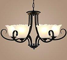 Hauptbeleuchtung Vintage Schmiedeeisen American country warmen Wohnzimmer Kronleuchter kreative kontinentales Zimmer Schlafzimmer leuchte Durchmesser lampe glas 650/800/900 mm hoch 850 mm, 6 Leiter