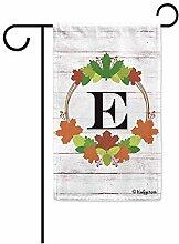 Hauptflagge,Willkommen Herbst Kranz Monogramm E