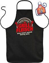 Hauptsache GRILL Fleisch - Fun Schürze - mit kleiner Mini-Schürze als Präsen