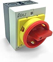 Hauptschalter 4 polig 16A Drehschalter mit Kunststoffgehäuse IP65 4P16A-G Trennschalter 16 amper Trenn Dreh Haupt Maschinen Schalter 4pol 230 - 440 V Kunststoff Gehäuse ARLI