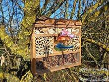 Haus Insektenhotel, Insektenhaus als funktionale Gartendeko KOMPLETT mit Holzrinde-Naturdach und Fütterungsstation, FDV-STATION-OS dunkelbraun braun Nistkasten Insektenkasten Insektenhaus als Ergänzung zum Meisen Nistkasten Meisenkasten oder zum Vogelhaus Vogelfutterhaus Futterstation für Vögel, als umweltfreundliches Mittel gegen Blattläuse