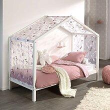Haus Kinderbett in Weiß Kiefer massiv Vorhang