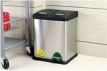 Haus & Küche Edelstahl-Doppel-Fässer Mülleimer, Klassifizierung Schritt Outdoor Umweltschutz 16L / 45L / 48L Mülleimer ( Farbe : 2-barrels , größe : 48L )