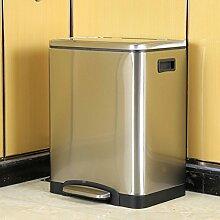 Haus & Küche Edelstahl-Mülleimer, Abdeckung Fußbetriebene Lagerung Barrel Abfalleimer 30L Single Eimer / Doppel-Fässer ( Farbe : Double barrels , größe : 30L )