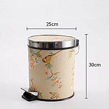 Haus & Küche Fuß betrieben Trash Can Badezimmer Wohnzimmer Haushalt mit Abdeckung Küche Fuß Lagerung Fass Office Wastebasket ( Farbe : C )