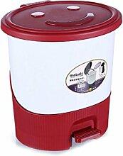 Haus & Küche Fuß betrieben Trash Can Badezimmer Wohnzimmer Haushalt mit Abdeckung Küche Fuß Lagerung Fass Office Wastebasket ( Farbe : Rot )